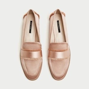Zara light pink frayed loafers
